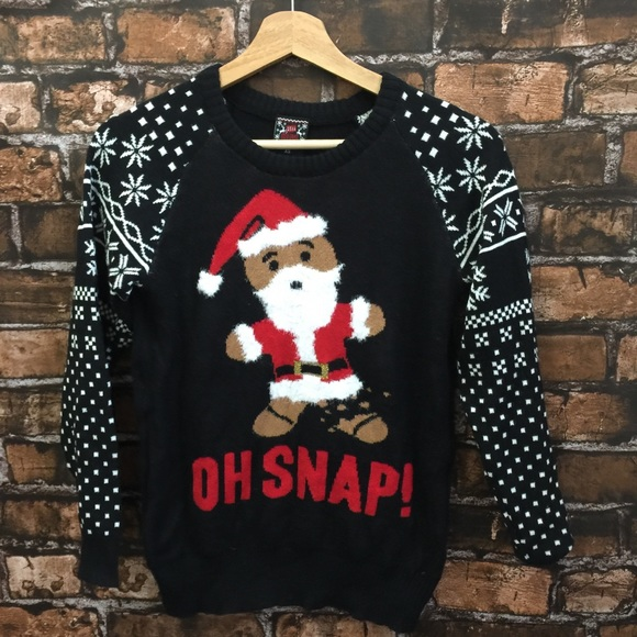 "c0e536adb6e ""Oh Snap"" Gingerbread Ugly Christmas Sweater. M 5bbd3b73a5d7c6445805b39a"